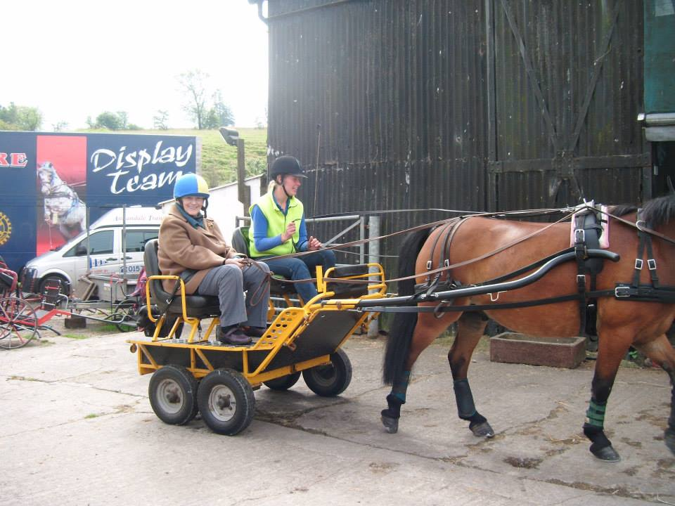 An image of one of our residents on a horse drawn carriage